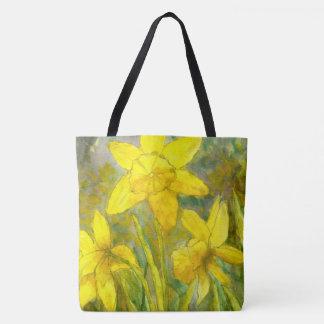 Watercolor-Malerei, gelbe Blumen-Kunst, Narzissen Tasche