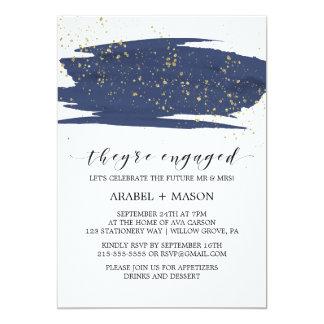Watercolor-Marine-und Goldschein-Verlobungs-Party 12,7 X 17,8 Cm Einladungskarte