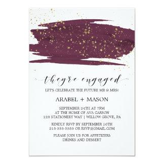 Watercolor Marsala u. Goldschein-Verlobungs-Party 12,7 X 17,8 Cm Einladungskarte