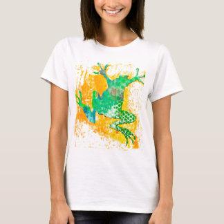 Watercolor-moderner niedlicher grüner Frosch T-Shirt