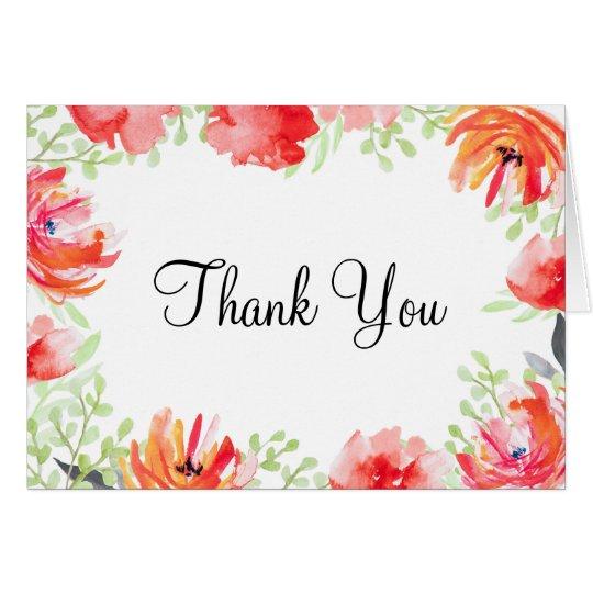 Watercolor-Mohnblumen-Blume danken Ihnen Mitteilungskarte