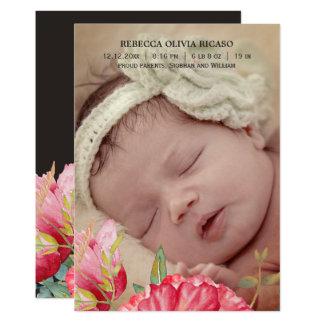Watercolor-Mohnblumen-Blumen-neues Baby 12,7 X 17,8 Cm Einladungskarte