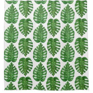 Watercolor Monstera Blätter Duschvorhang