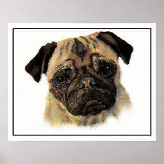 Watercolor-Mops-Hundehaustier-Tier-Kunst Poster