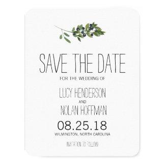 Watercolor-olivgrüner Obstgarten | Save the Date 10,8 X 14 Cm Einladungskarte