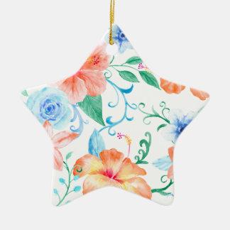 Watercolor-orange und blaues Blumen-Muster Keramik Ornament
