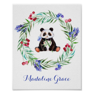 Watercolor-Panda-Kinderzimmer-Kunst Poster