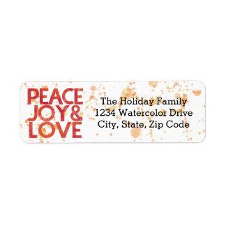 Watercolor Peace Christmas Holiday Return Address