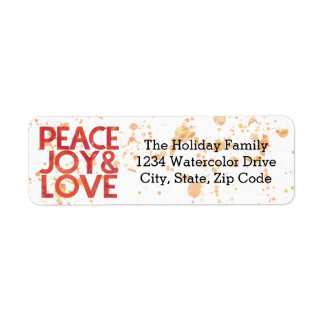 Watercolor Peace Christmas Holiday Return Address Rücksendeetiketten