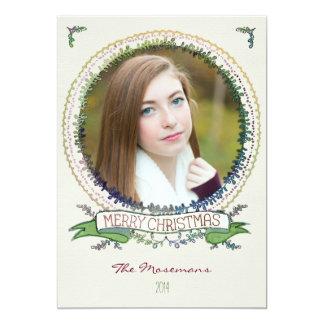 Watercolor-Rebe-Foto-Weihnachtskarte Karte