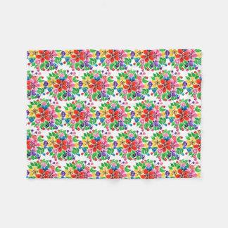 Watercolor-Regenbogen-Blumen Fleecedecke