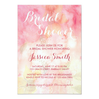 Watercolor-rosa Brautparty-mit Blumeneinladung Karte