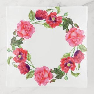 Watercolor-rosa Rosen-Blumenkunst-Muster Dekoschale
