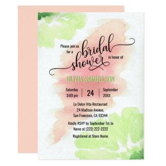 Watercolor-Rosa, tadelloses grünes Wedding 11,4 X 15,9 Cm Einladungskarte