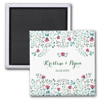 Watercolor-Rosen-Garten, der Save the Date Wedding Quadratischer Magnet