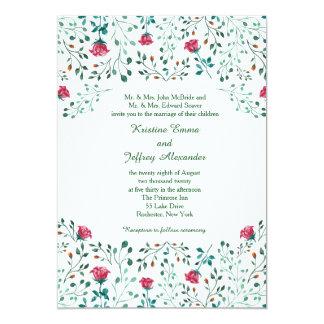 Watercolor-Rosen-Garten-Hochzeit Karte