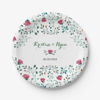 Watercolor-Rosen-Garten-Papierplatte Pappteller