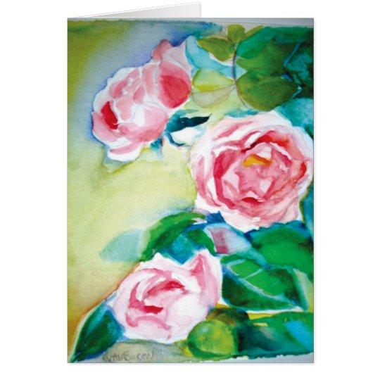 Watercolor-Rosen Grußkarte