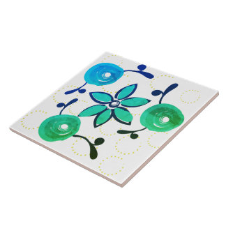 Watercolor-Rosen-Hütten-Garten-grünes Volksmuster Keramikfliese