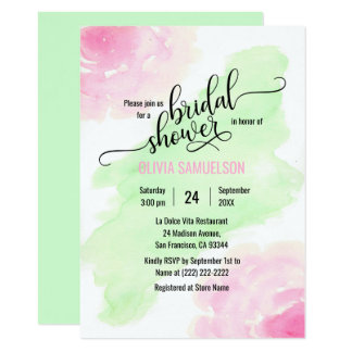 Watercolor-Rosen-Rosa u. tadelloses grünes 11,4 X 15,9 Cm Einladungskarte
