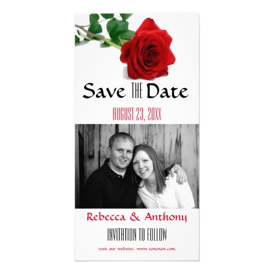 Watercolor-Rote Rose - Save the Date Karte