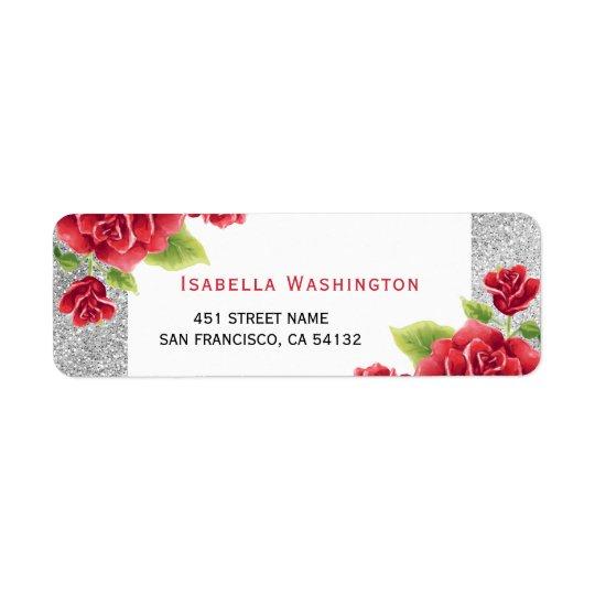 Watercolor-Rote Rosen u. silberner Glitter Rücksende Aufkleber