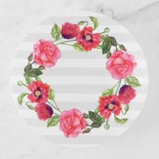 Watercolor-roter und rosa Blumenwreath-Entwurf Dekoschale