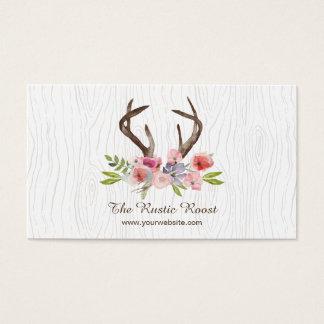Watercolor-Rotwild-Geweih-Wildblumen-Imitat Bois Visitenkarte
