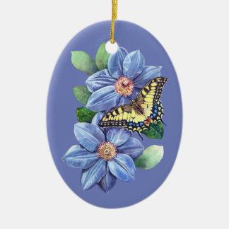 Watercolor-Schmetterlings-Keramik-Oval-Verzierung Ovales Keramik Ornament