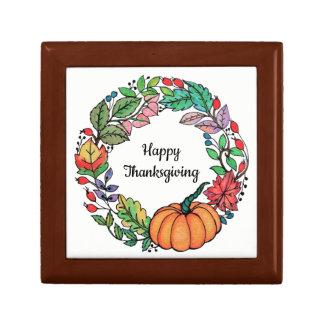 Watercolor-schöner KürbisWreath mit Blätter Erinnerungskiste