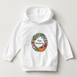 Watercolor-schöner KürbisWreath mit Blätter Hoodie