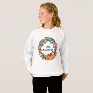 Watercolor-schöner KürbisWreath mit Blätter Sweatshirt