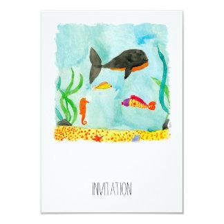 Watercolor-Seeansicht mit Wal und Seepferd 8,9 X 12,7 Cm Einladungskarte