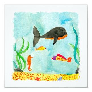 Watercolor-Seeansicht mit Wal und Seepferd Quadratische 13,3 Cm Einladungskarte