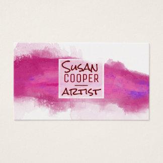 Watercolor-Spritzen-Alizarin-Hochrot und ROSE Visitenkarte