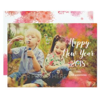 Watercolor-Spritzen-neues Jahr-Foto-Karte Karte