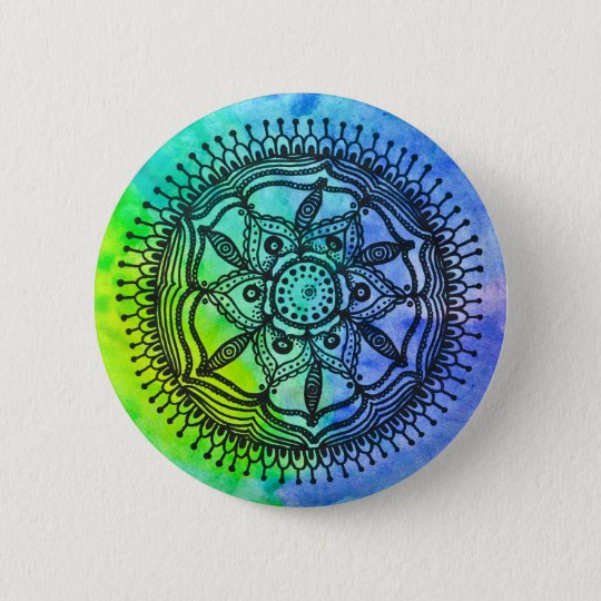 Watercolor-Spritzermandala-Entwurfs-KnopfPin. Runder Button 5,7 Cm