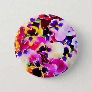 Watercolor-Stiefmütterchen Runder Button 5,7 Cm