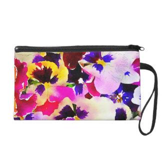 Watercolor-Stiefmütterchen Wristlet Handtasche