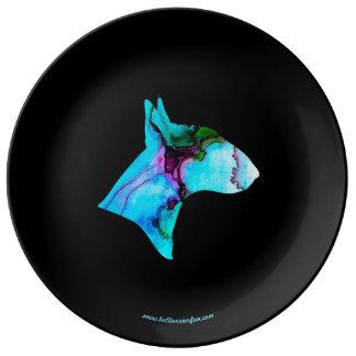 Watercolor-Stier-Terrier-Silhouette-Dekoplatte Porzellanteller