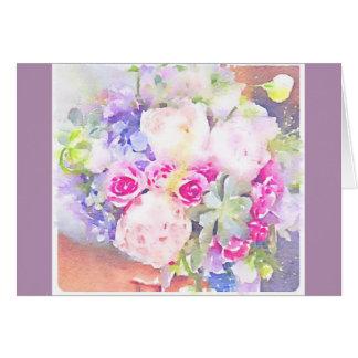 Watercolor-Succulents u. Rosen Karte