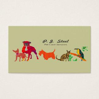 Watercolor-Trendy Tier-Hundekatzen Visitenkarte