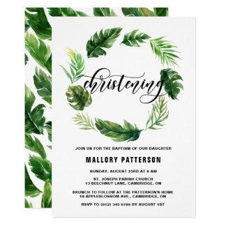Watercolor-tropische Blätterwreath-Taufe 12,7 X 17,8 Cm Einladungskarte