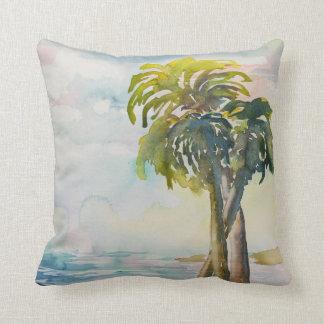 Watercolor-tropisches Ozean-Palme-Blätter Zierkissen