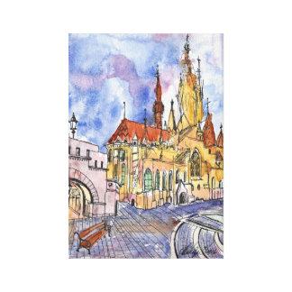 Watercolor- und Stiftkathedrale auf Leinwand