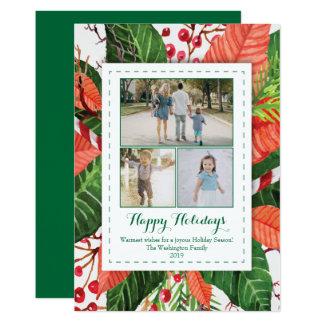 Watercolor verlässt Fotokarte des Weihnachten drei Karte