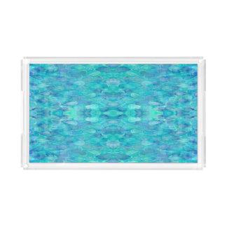 Watercolor Water Droplets Pattern Vanity Tray Acryl Tablett