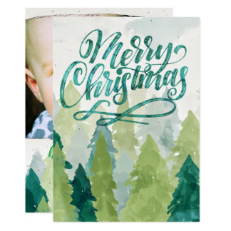 Watercolor-Weihnachtsbaum-Feiertags-Foto-Karte Karte
