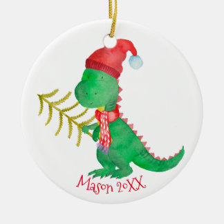 Watercolor-Weihnachtsdinosaurier personalisiert Keramik Ornament