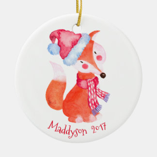 Watercolor-WeihnachtsFox personalisiert Keramik Ornament